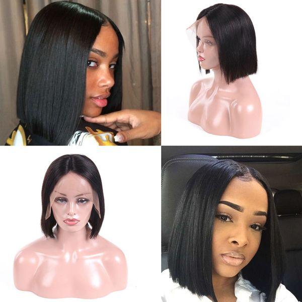 100% Işlenmemiş Bakire Brezilyalı Saç Peruk 130% Yoğunluk dantel ön peruk 8- 26 inç düz Saç Peruk doğal renk Renk Ücretsiz Kargo