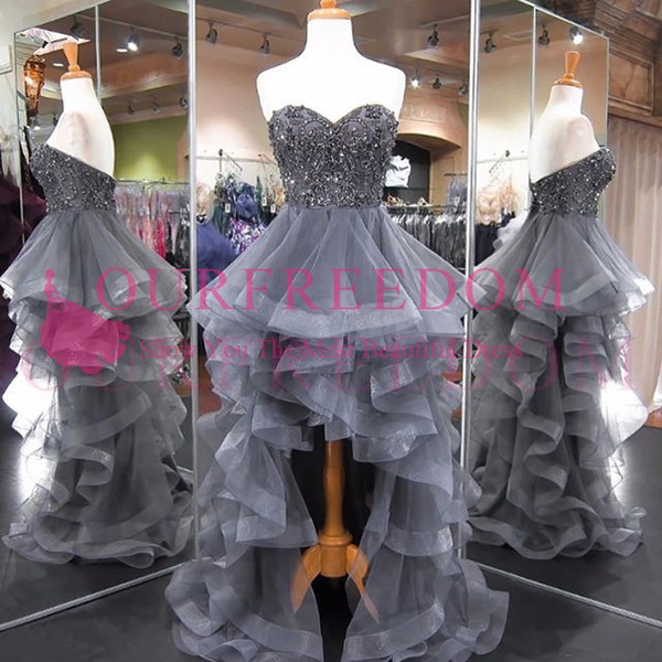 2019 High Low Gray Prom Dresses Sweetheart Neck Beaded Crystal Tulle Tiered Skirts Formal Evening Party Gowns