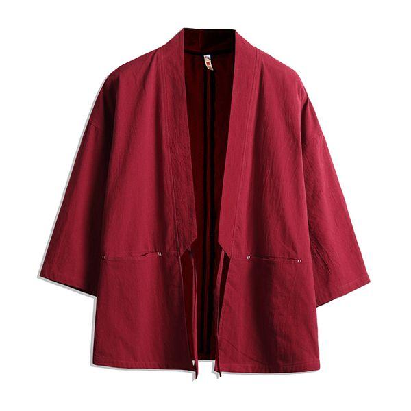 2018 Spring Summer mens Japan Style thin Kimono Jacket Cotton&Linen Loose Cardigan male Casual Plus Size Coat Windbreaker 5XL