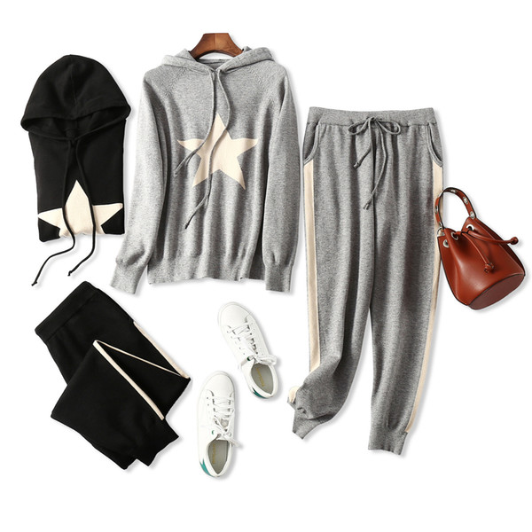 Winter New Product Fashion Leisure Time Five-pointed Star Even Hat Knitting Unlined Upper Garment Side Stripe Sports Pants Cashmere Genuine