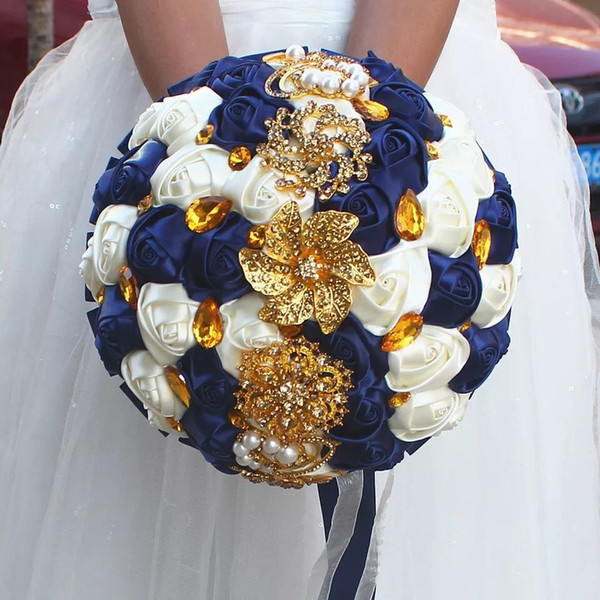 Gorgeous wedding bridal bouquets ivory gold shiny flowers Artificial Wedding Bouquet new crystal sparkle 2018 bouquet of bride