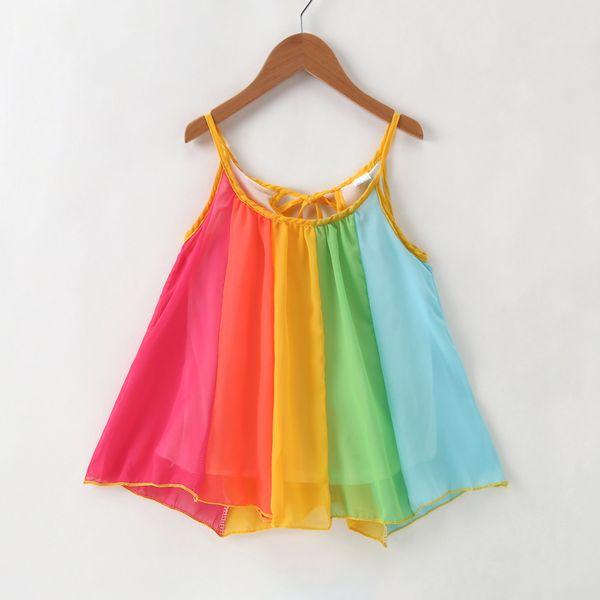 Baby Girls Rainbow Suspender Dress Colorful Patchwork Tie Bow Vest Tops Chiffon Summer Beach Short Skirt Toddler Kids Clothing 1-6T