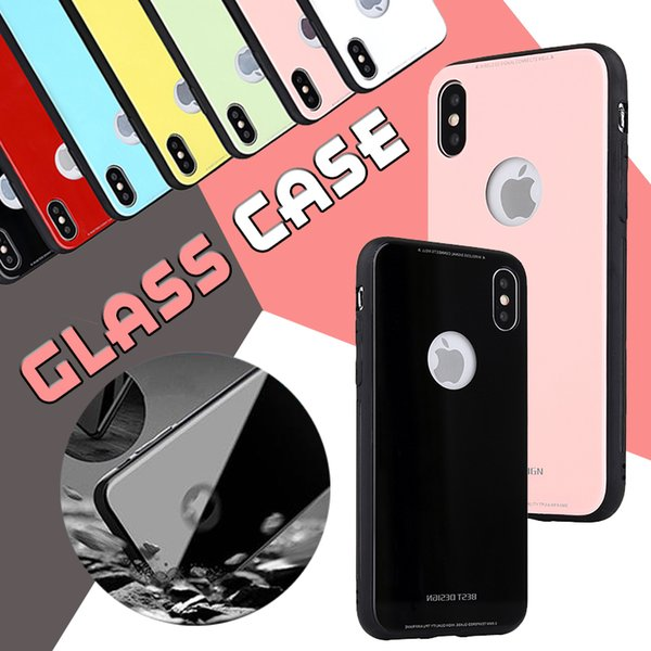 Temper Glass Clear Case For iPhone X 8 Plus 7 6S Clear Glossy Hard PC Back Glass Soft TPU Bumper Shockproof Case Cover For iPhone X 8 Plus