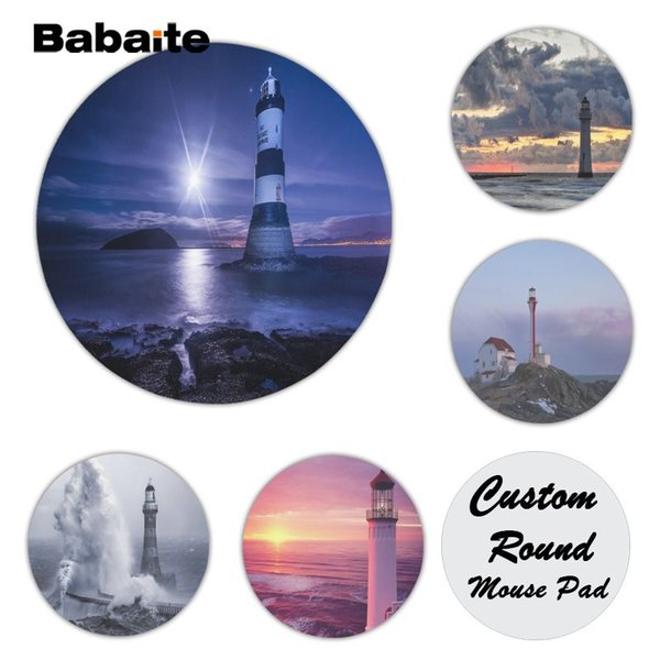 Babaite Funny Lighthouse Silicone Pad to Mouse Game Size for 200*200*2mm and 220*220*2mm Round Game Mousepad