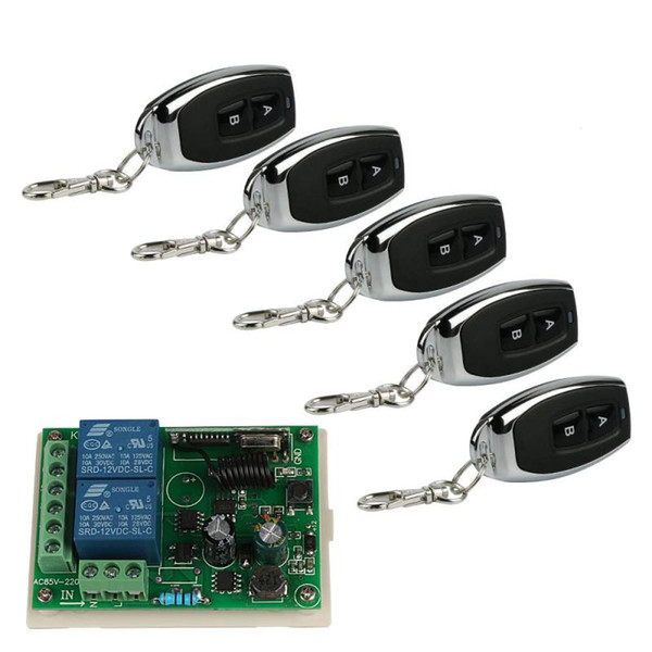 QIACHIP 433Mhz Wireless Remote Control Switch AC 220V 2CH Relay Module e 5pcs 2 canali RF 433 MHZ Remote Transmitter