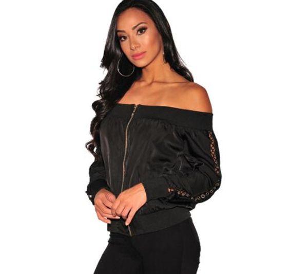 2018 fashion trend new autumn women's one-shoulder long-sleeved hole short jacket