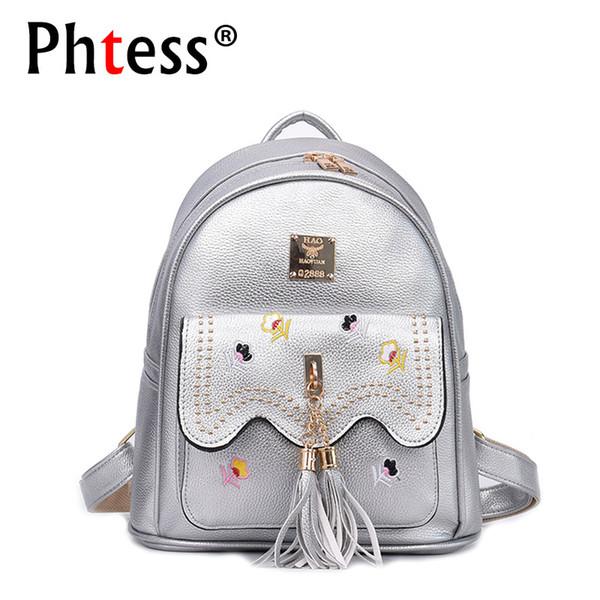 2018 Cute Leather Backpacks For Teenage Girls School Bags For Teens Mochila Tassel Preppy School Back Pack Embroidery Flowers