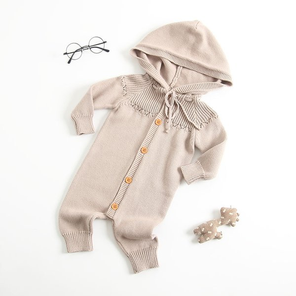 ivytrade1125 / Baby clothes romper solid color long sleeve hooded romper baby boy girl spring fall clothing romper