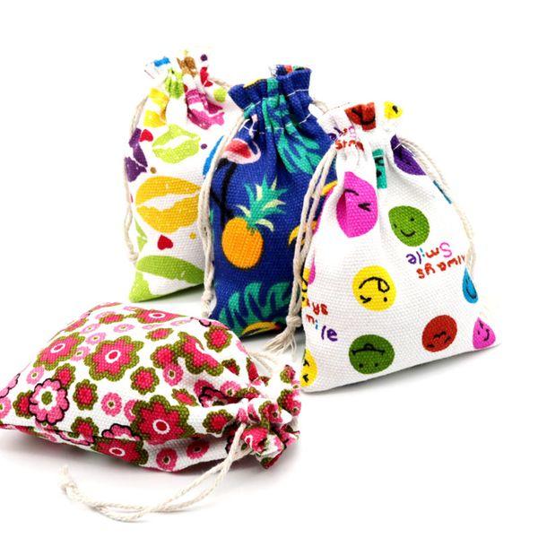 50pcs/lot 2018 Hot!10x14cm Fresh Handmade Drawstring Cotton Linen Storage Bag Tea/candy/key/Jewelry Organizer Makeup Cosmetic Coins Bagl