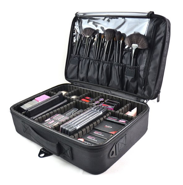 Pincel de maquillaje Estuche para bolsa de maquillaje Organizador de aseo Bolsa de aseo Bolsa de cosméticos Gran Nail Art Tool Boxes con Bolso portátil