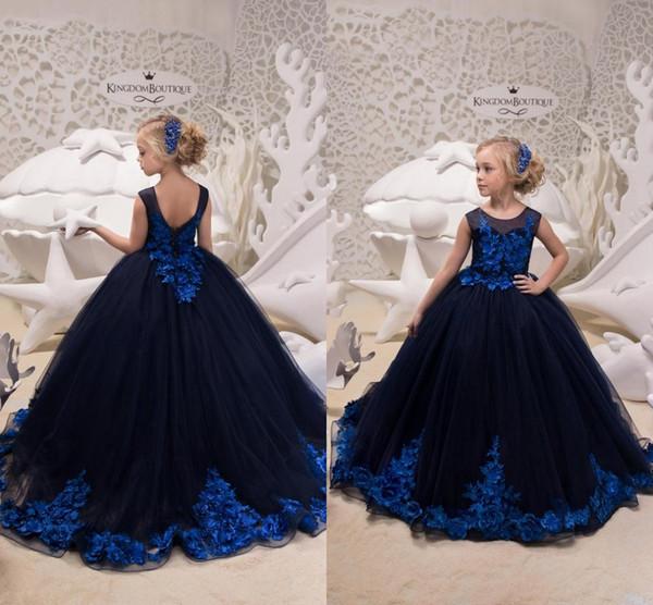 2019 Nuovo Designer Blu Navy Little Girls Pageant Abiti Royal Blue Applique Bambini Fiore Prom Abiti da festa per matrimoni Ragazze Abiti da cerimonia