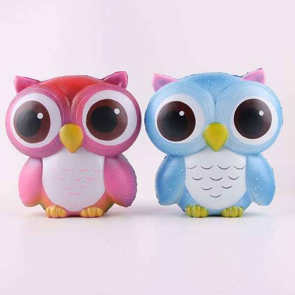 Jumbo Squeeze Toy Squishy Pink Blue Owl Kawaii Cute Animal Slow Rising Sweet Scented Vent Charms Bread Cake Kids Toy