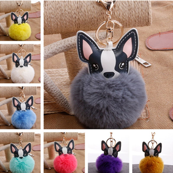 2018 New Lovely Faux Dog Fur Keychains Women Trinkets Suspension On Bags Car Key Chain Keyrings Toy Gifts