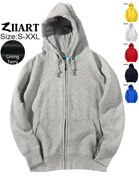 Woman Full Zip Terry Hooded Coat Jackets Black Royal Blue Light Gray Red White Yellow Couple Clothes Autumn Winter ZIIART