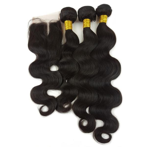Ofertas del pelo del paquete con el cierre Vendaje del pelo humano de la onda del cuerpo Venta al por mayor Paquete brasileño del pelo con el cierre del frente del cordón suizo 4x4