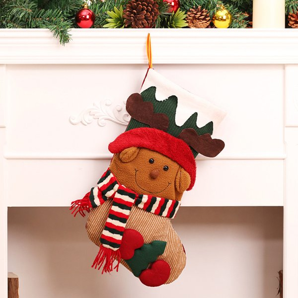 Christmas Stockings Socks Christmas Tree Decorations Hanging Ornaments Navidad New Year Gifts Candy Bag Santa Sacks Drawstring