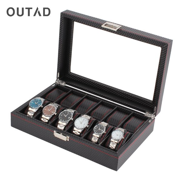 OUTAD 12 Grids Slots Wooden Watch Box Carbon Fibre Pattern Watch Storage Box Display Slot Case
