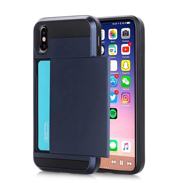 Hot sale For iphone 6 suitcase muliti color options Sliding card slot mobile case shockproof hybrid tpu+pc phone case