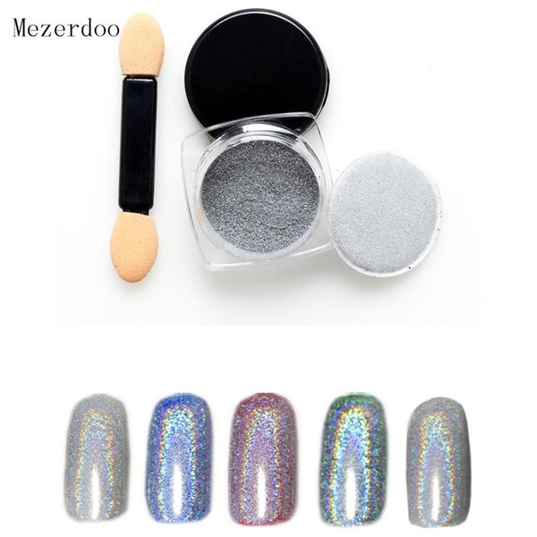 top popular 1g Box Shiny Laser Nail Powder Holographic Nail Glitter Rainbow Chrome Pigment Manicure Pigments Dust Nail Art Decorations 2020