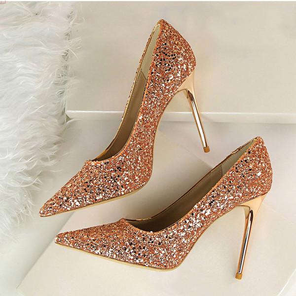 0e3934e916ec Women Pumps Sexy Wedding Shoes Women Heels Valentine Bling High Heels Shoes  Female Gold Silver Red
