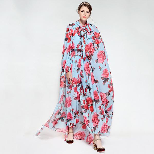 Gökyüzü Mavi Çiçekler Baskı Kadın Süveter Ve Pelerinler Moda bodysuit kadınlar Pelerinler combinaison femme Ile 2018 80160