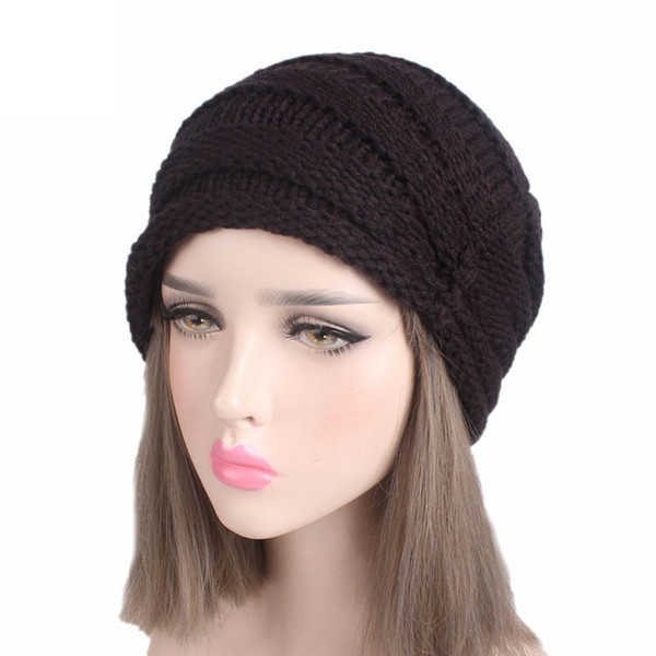 Fashion Women Ladies Hat Winter Handmade Knitting Turban Brim Cap Pile Casual Crochet Colorful Caps GY Female Gorras