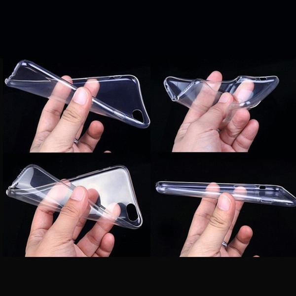 Ucuz iphone x 8 7 6 s artı temizle tpu kılıfları için silikon koruyucu kollu kapak şeffaf yumuşak case iphone 5 5 s