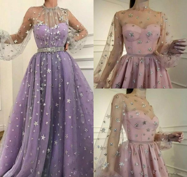 Shinning Prom Dresses High Neck Illusion Long Sleeve Tulle Glitter Star A Line Bling Evening Dress Party Custom Made Special Occasion Gowns