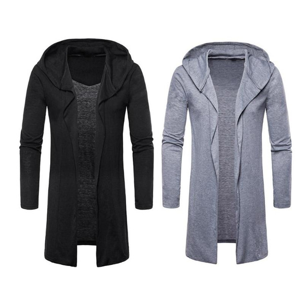 Hot Men Spring Autumn Trench Overcoat Jacket Casual Hooded Cardigan Long Capes Cloak Outwear Open Stitch masculino Coat