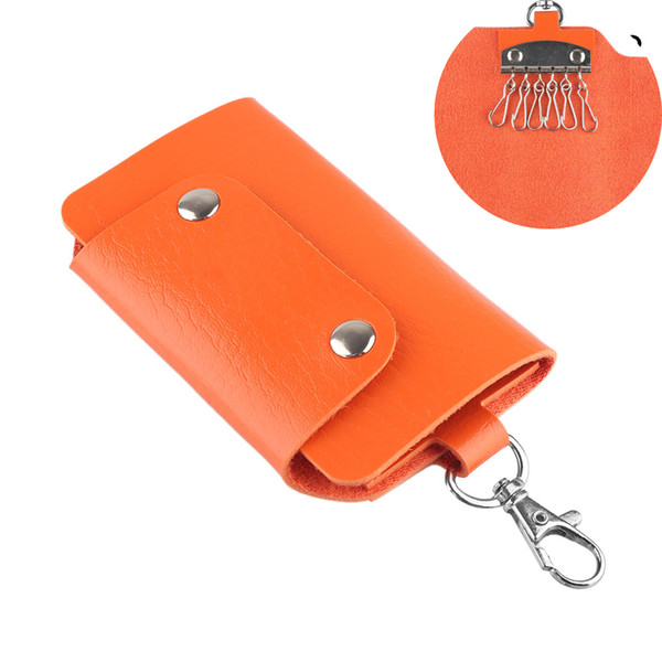 1PC PU Leather Key Bag Key Ring Metal Buckle Holder Keychain Cover fob Wallets Colorful Fashion Ornaments Gift