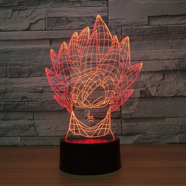 Dragon Ball Goku 3D Optical Illusion Lamp Night Light DC 5V USB Powered AA Battery Wholesale Dropshipping Free Shipping
