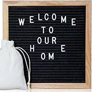 "top popular Black Felt Letter Board 10""x10"" with 340 Characters Craft Knife and Pouch for Home Office Business Events and Social Media Oak Frame 2019"