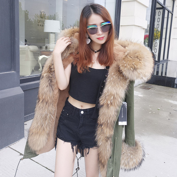 2018 New Long Hood Natural Real Raccoon Fur Collar Winter Jacket Women Coat Detachable 3 In 1 Outerwear Thick Warm Parkas