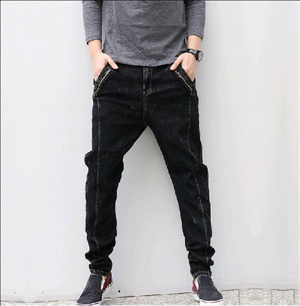 Wholesale-2016 new arrive spring Autumn men Black jeans male personalized pocket harem jeans loose plus size L,XL,XXL,3XL,4XL,5XL,6XL,7XL