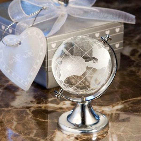 50 stücke Silber Stand Kristall Weltkugel Karte Glas Kunststoff Klar Tellurion Casamento Geschenk Briefbeschwerer Vastu Abschluss Geschenk
