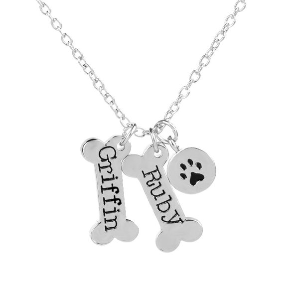 New Dog Tag Bones Shaped Necklace Dog Paw Footprint Pendant Pet Lovers Jewelry Gift free shipping