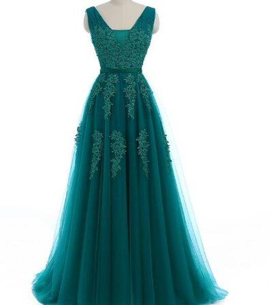 Ladybeauty 2018 Elegant Long Bridesmaid Dresses Appliques Lace beading V-neck style Wedding Party Dress Under 49.5$