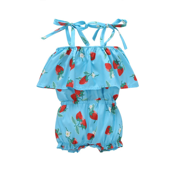 New INS Backless Girls Casual Sling Clothing Sets romper baby Lovely Strawberry jumpsuit cargo pants bodysuits kids clothing children Outfit