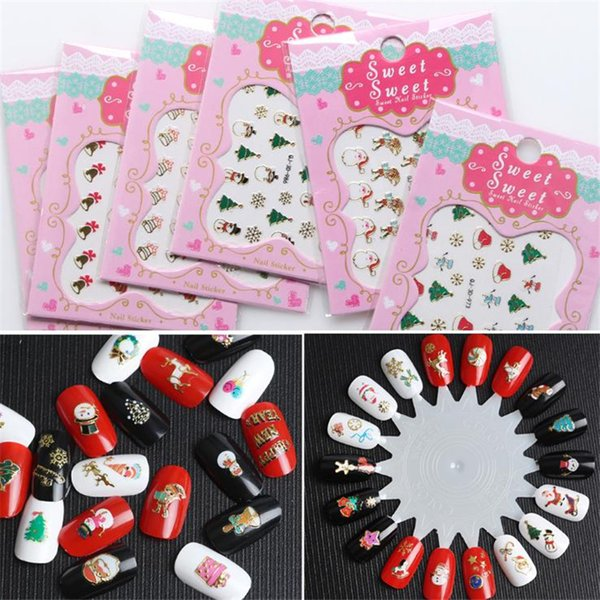 Christmas Nail Stickers DIY Craft Nail Art 3D Stickers New Year Christmas Decoration Xmas Party Favor Kids gifts natal.Q