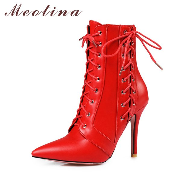Meotina Frauen Winter Rot Stiefel High Heel Stiefel Lace Up Mitte Kalb 2018 Spitz Herbst Schuhe Weiß Schwarz Große Größe 11 46