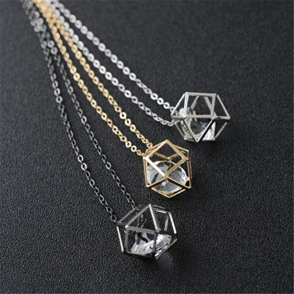 2018 Latest Fashion Contracted Geometric Alloy Hollow Crystal Choker Necklace Pendant For Women Brand Jewelry Wholesale