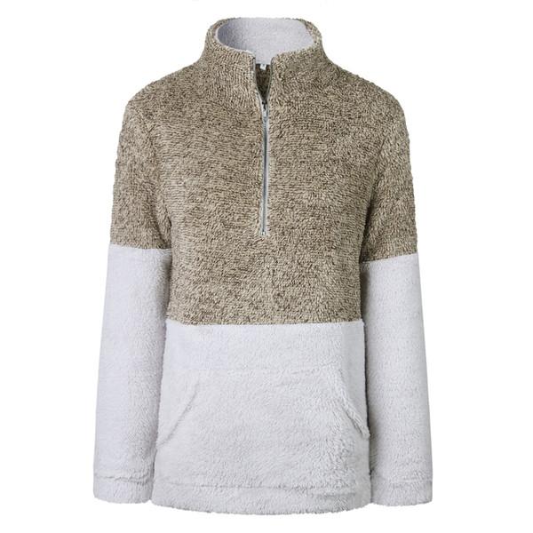 Felpa autunno inverno con cerniera tasca collo alto donna Felpa donna Casual manica lunga rosa Pullover Felpa cappotto maglione maglione