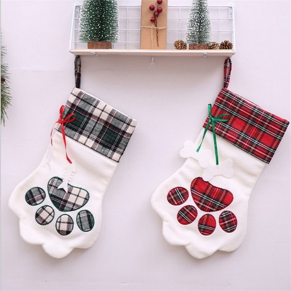Souarts Christmas Decor Supplies Dog Claw Gift Bag Pendant Party Accessories Home Decoration For New Year Christmas Stockings
