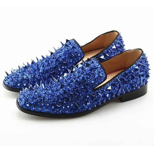 2018 Luxury Designer Mens Casual Shoes Flat Sparkle Glitter Red Blue Black Gold Silver Spiked Wedding Shoes Rivet Studded Loafers Men
