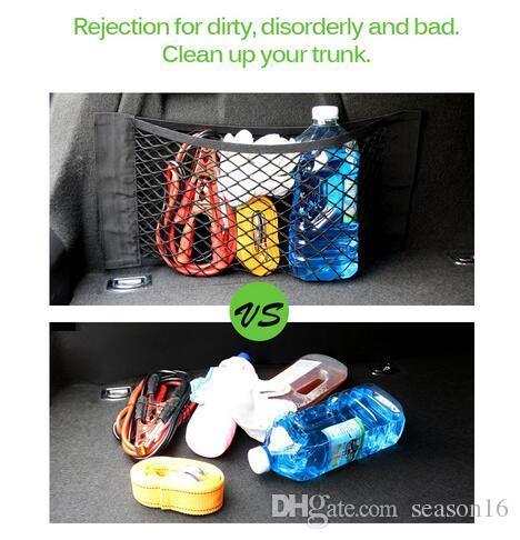 Car Trunk Box Storage Bag Mesh Net Bag Car Styling Luggage Holder Pocket Sticker Trunk Organizer