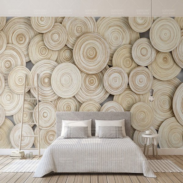 Custom 3D Wall Mural Wallpaper Modern 3D Stereo Wood Grain Wall Painting Living Room Bedroom Abstract Art Papers Home Decor