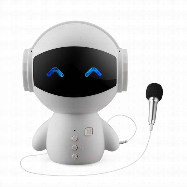 New Mini Robot version Bluetooth speaker with MIC TFcard HD stereo surround sound audio mobile power supply type originality sound box