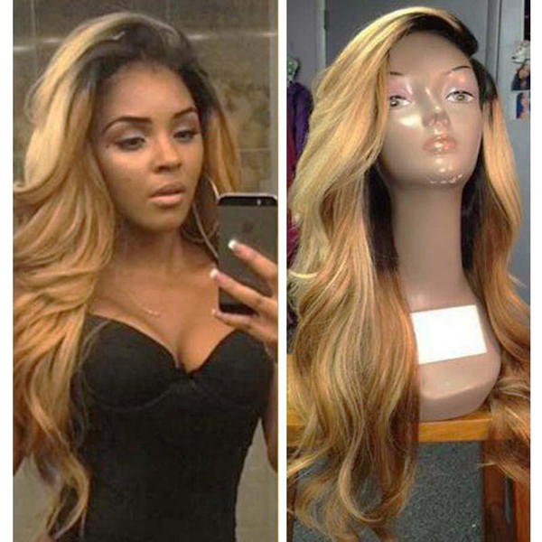 Honey Blonde Lace Front Wig Glueless Full Lace Wigs Human Hair Ombre Wig Black Roots 1B 27 Body Wave Brazilian Virgin Hair