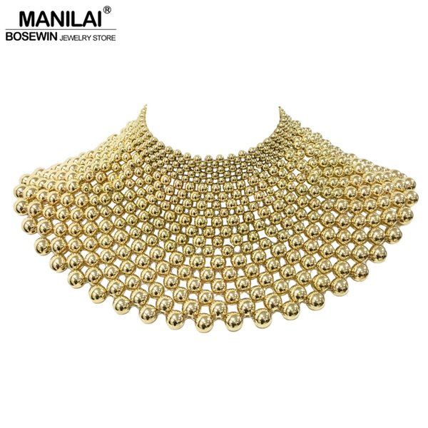 whole saleMANILAI Brand Indian Jewelry Handmade Beaded Statement Necklaces For Women Collar Beads Choker Maxi Necklace Wedding Dress