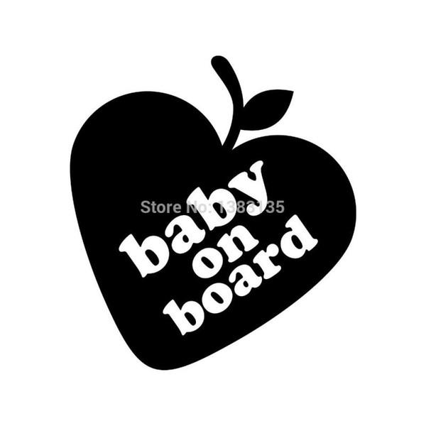 HotMeiNi Wholesale 20pcs/lot New ! Cute Love Apple Baby On Board Baby Car Sticker For Truck Window Auto Door Kayak Vinyl Decal